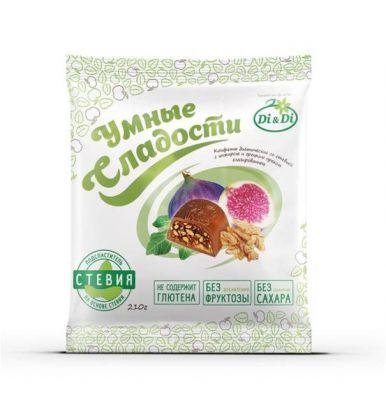 """Конфеты Di&Di """"Умные сладости"""" на стевии с инжиром и грецким орехом 210 г"""