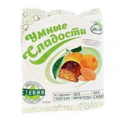 """Конфеты Di&Di """"Умные сладости"""" на стевии с курагой и миндалем 210 г"""