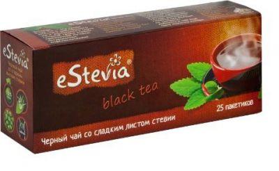 Чай eStevia черный с листом стевии (25 пак х 2 г)