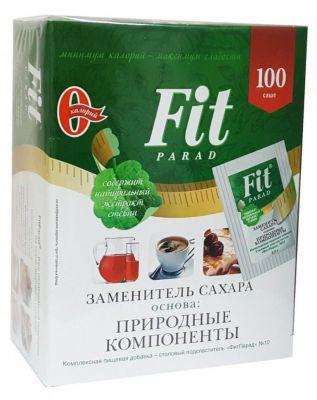 Сахарозаменитель Фит Парад №10 (стевиозид, сукралоза) 100 пакетиков- саше в коробке