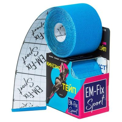 Бинт Кинезио-тейп EM-Fix адгезивный восстанавливающий 5мх5см, рулон голубого цвета