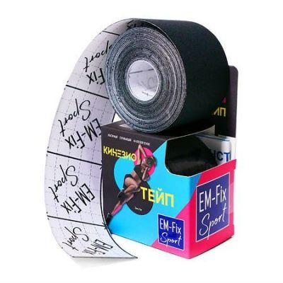 Бинт Кинезио-тейп EM-Fix адгезивный восстанавливающий 5мх5см, рулон черного цвета