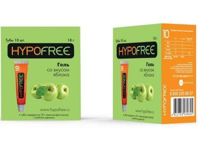 HYPOFREE (Гипофри) гель в тюбике 1 ХЕ вкус яблока (коробка из 10 тюбиков)