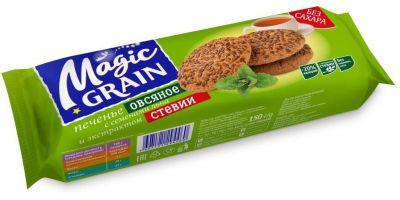 Печенье Magic Grain овсяное cдобное с семенами льна и экстрактом стевии , 150г