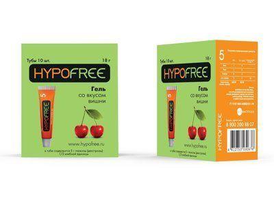 HYPOFREE (Гипофри) гель в тюбике 0,5 ХЕ вкус вишни (коробка из 10 тюбиков)