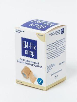 Бинт EM-Fix krep эластичный фиксирующий 10 см х 4,5 м, бежевый