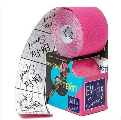 Бинт Кинезио-тейп EM-Fix адгезивный восстанавливающий 5м х 5см, рулон розового цвета
