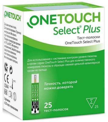 Тест-полоски One Touch Select PLUS № 25 с ограниченным сроком годности