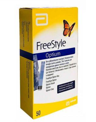 Тест-полоски Freestyle Optium (Фристайл Оптиум) для определения уровня глюкозы N 50