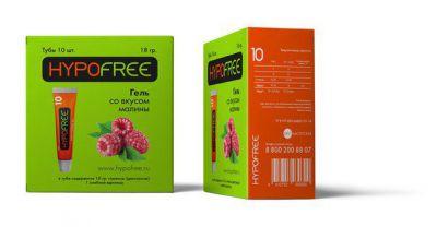 HYPOFREE гель в тюбике 1 ХЕ вкус малины (коробка из 10 тюбиков)